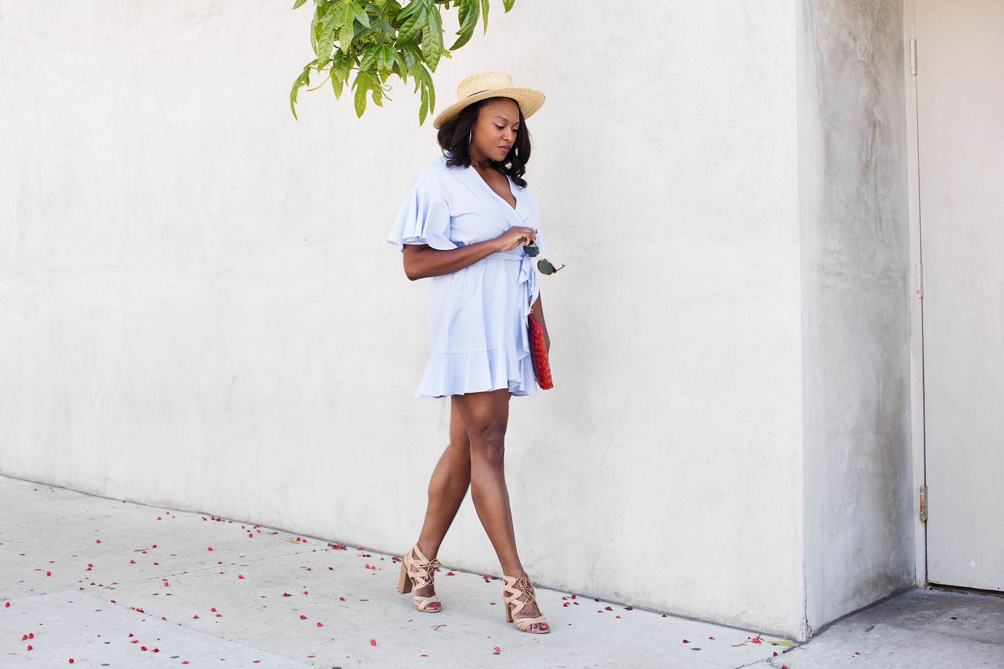 topshop-summer-wrap-dress-melissa-chataigne-style-blogger-klint-hat-1