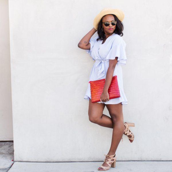 topshop-stripe-wrap-dress-janessa-leone-klint-hat-melissa-chataigne-style-expert