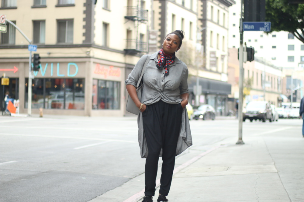 how to style a shirt dress and heidi merrick hardem pants